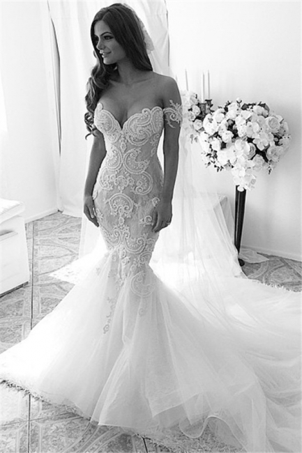 Sexy Mermaid Off Shoulder Long Wedding Dress White Court Train Formal Bridal Gowns