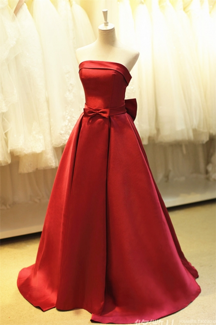 Elegant Strapless Red Satin Long Prom Dresses for Juniors Affordable Fitted Simple Lace-up Evening Dreses with Bowknot B