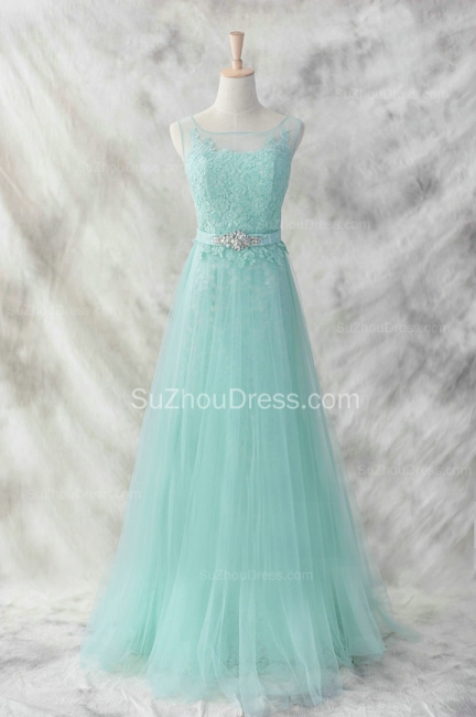Light Green Lace Evening Dress A Line Tulle Appliques crystals Belt  Prom Dress