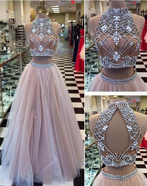 High Collar Two Piece Tulle Evening Dress with Beading A-Line Halter Long Prom Dress CE0108