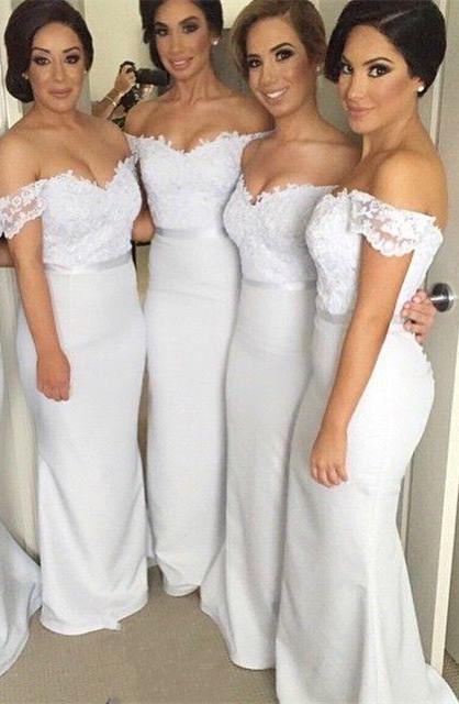 Sheath Off the Shoulder Long Wedding Party Dress Elegant Lace Floor Length Bridal Gown JT129