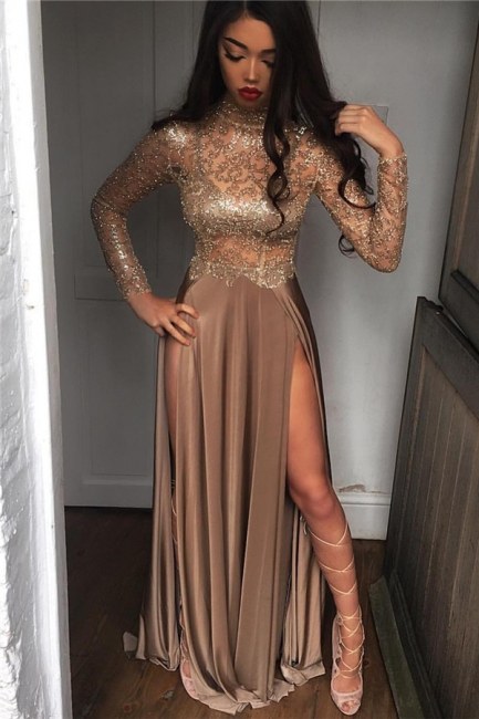 High Neck Champagne Gold Sexy Evening Dress Splits Long Sleeve Illusion Prom Dress  FB0061