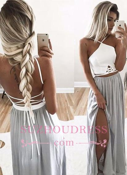 Open Back Halter Spaghetti Straps Evening Gowns  Side Slit Long Summer Prom Dresses