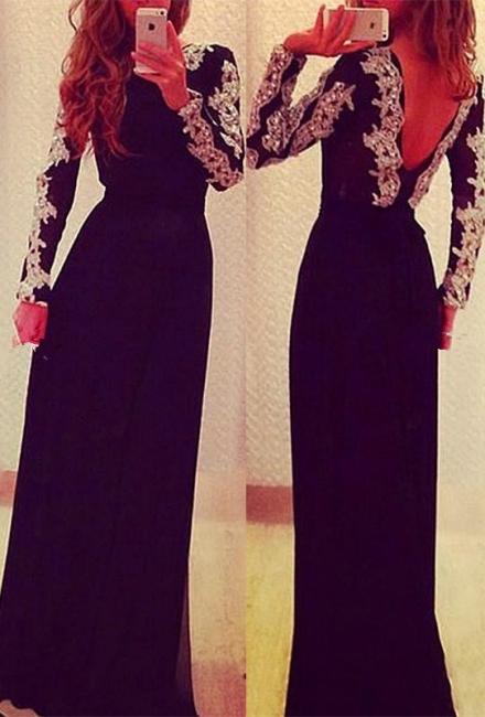 Black Prom Dresses Long Sleeve Appliques Floor Length Sequins  Evening Gowns