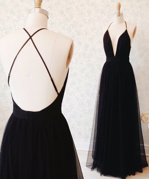 Sexy Black Tulle Straps Evening Dress  Deep V-neck Open Back Prom Gown BA3178