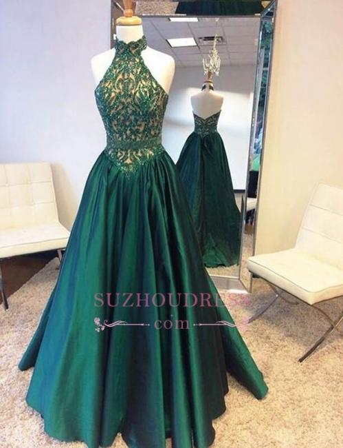 Halter Beadings Green Open-Back Floor-Length A-Line Prom Dress