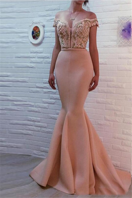 Mermaid Off The Shoulder Pink Prom Dresses Beads Sequins Sexy Evening Gowns