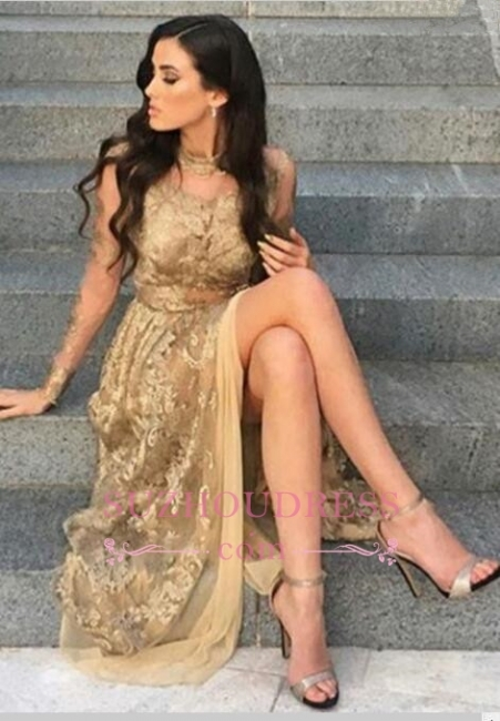 Side-Slit Appliques Sexy High-Neck Long-Sleeves Tulle Gold Prom Dresses