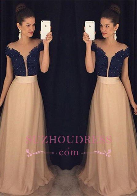 A-Line Tulle Beaded Lace Glamorous Cap Sleeves  Prom Dresses GA079
