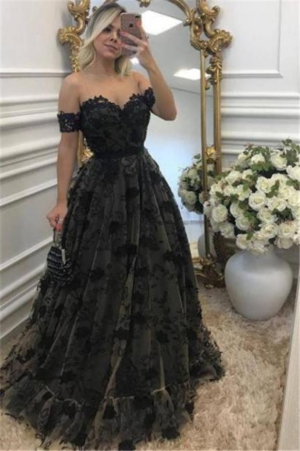 Black Off-the-Shoulder A-line Evening Dresses  Tulle Appliques Prom Dresses