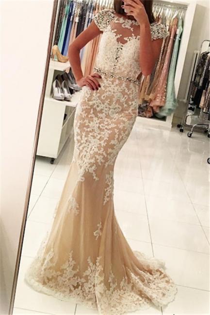 Fashion Appliques Round Neck Cap Sleeves Sexy Trumpet/Mermaid Online Prom Dress Sale   Suzhoudress UK