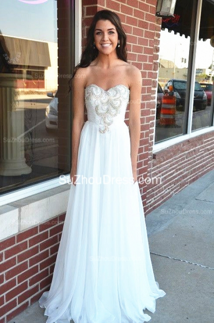 White Chiffon Beading Sequin Evening Dresses Sweetheart Sleeveless  Prom Dresses
