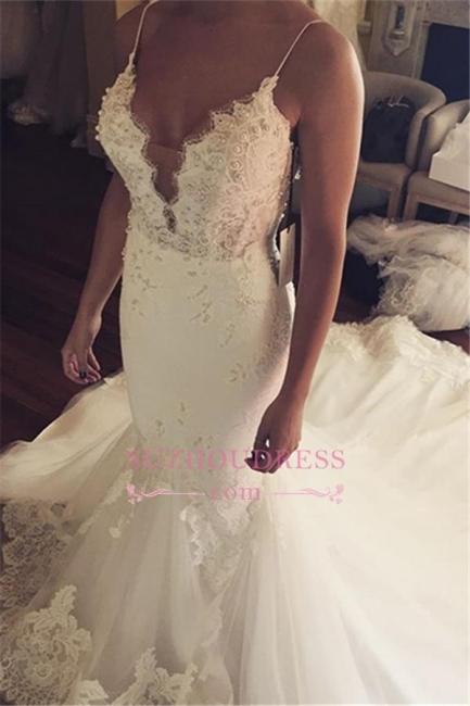Appliques Spaghetti-Straps Sexy Tulle Mermaid Wedding Dress