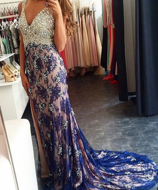 New Arrival Crystal V-Neck  Prom Dress Lace Applique Split Formal Occasion Dresses