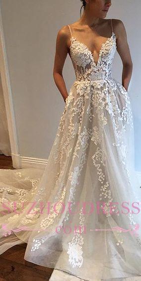 Sexy Appliques A-Line Bride Dress  Tulle Spaghetti-Straps V-Neck Wedding Dresses
