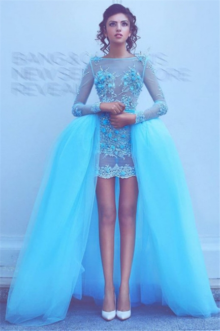 Long Sleeve Blue Beads Appliques Evening Dresses with Overskirt Sexy Puffy Short Prom Dress