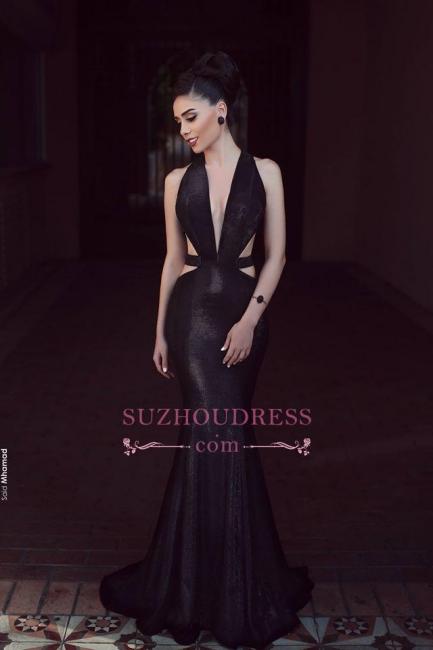 Black Mermaid Cutaway Sexy Evening Dresses  Sleeveless V-Neck Prom Dress