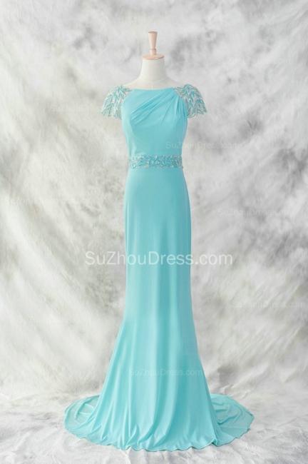 Charming Evening Dresses  Bateau Short Sleeve Sequins Beading Sash Chiffon Blue Zipper Sweep Train Prom Gowns