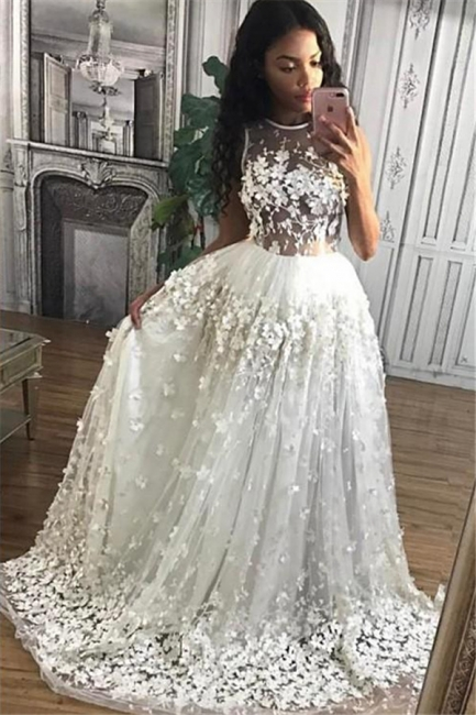 3D Floral Appliques  Prom Dresses Sheer Tulle Gorgeous  Formal Evening Gowns