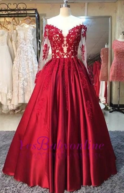 Long-Sleeves Off-the-Shoulder Red Lace-Appliques Puffy Prom Dresses BA5004