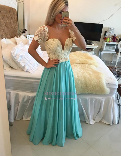 Modest Lace Pearls A-line Chiffon Short Sleeve Prom Dress BMT208