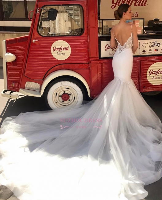 Gorgeous Lace Spaghetti-Straps Wedding Dresses Mermaid Sleeveless Bridal Gowns On Sale