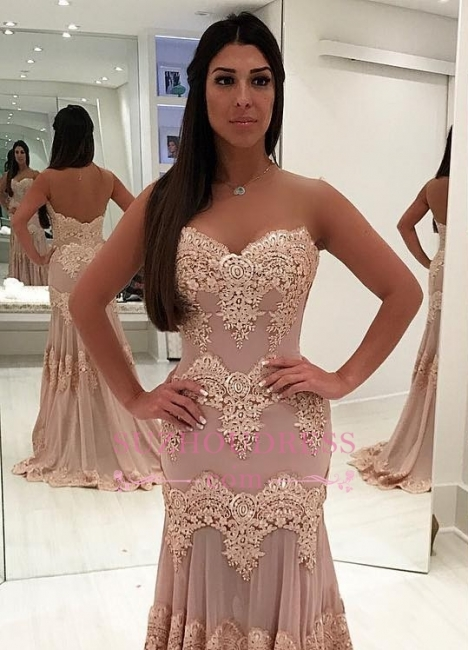 Sheath Sleeveless Sweetheart Prom Dresses | Lace Sweep-train Evening Gowns WW0017