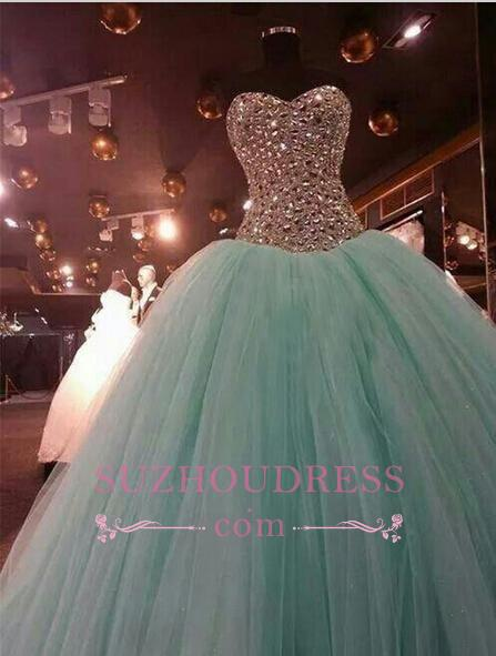 Crystals Green Luxury Mint Ball Gown Evening Dress Sweetheart Quinceanera Dresses