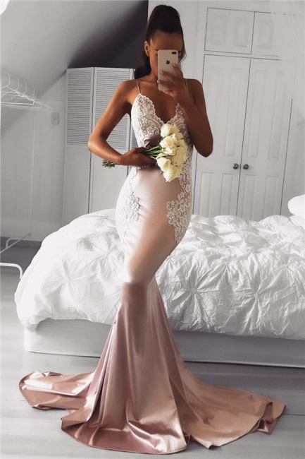 Spaghetti Straps V-neck Pink Prom Dresses Lace Mermaid   Formal Evening Gown FB0201-AN0
