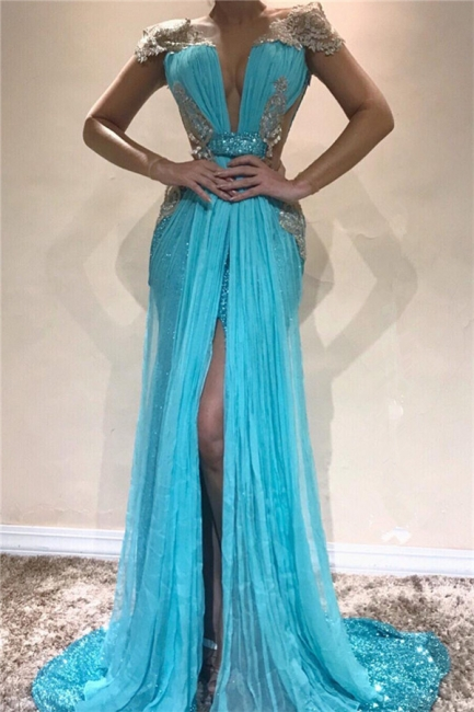 Sexy Backless Shiny Sequins Evening Dresses  | Front Split Appliques  Prom Dresses