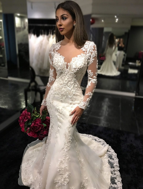 Stylish Mermaid Sheer-Back Tulle Appliques Bridal Dresses Long-Sleeves Mermaid | Bridal Gowns On Sale