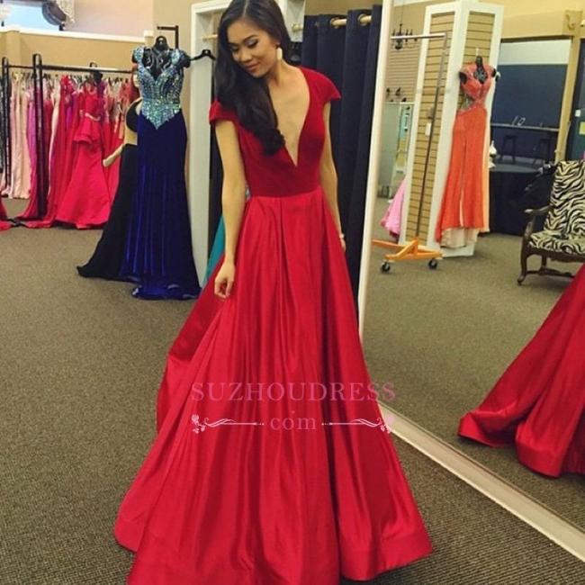 Cap-Sleeves Sexy A-Line Red Deep-V-Neck Velvet Prom Dress