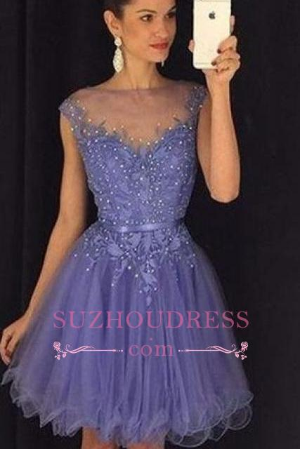 Lavender A Line Cap Sleeves Short Beadings Tulle   Homecoming Dress