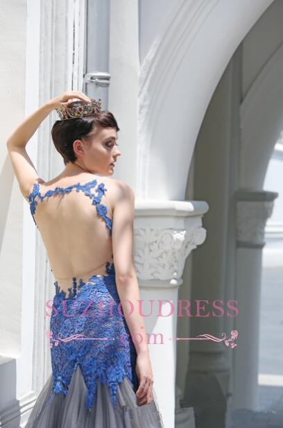 Sexy Sleeveless Tulle Glamorous Mermaid Appliques Evening Dress