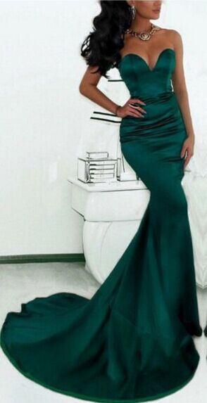 Simple Green Sweetheart Mermaid Evening Dress  Custom Made Formal Party Dresses