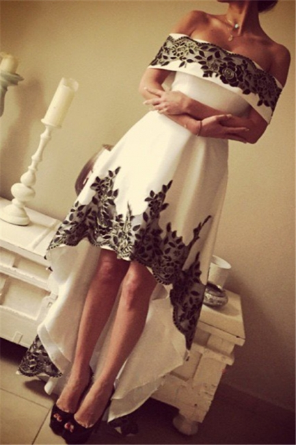 Black Lace Off The Shoulder Prom Dress High Front Low Back  Evening Dress BA3431