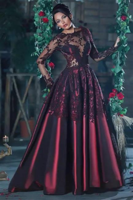 Burgundy Long Sleeve Evening Dresses  Lace Applique Sheer Back Formal Prom Dresses