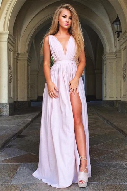 Deep V-neck Sexy Pink Formal Evening Dresses  Split  Party Dress