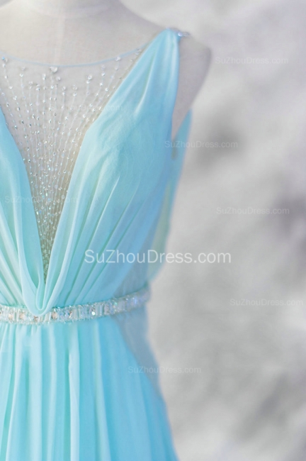 Evening Dresses Straps Sleeveless Blue A Line Sweep Train Sequins Sash Zipper  Prom Gowns