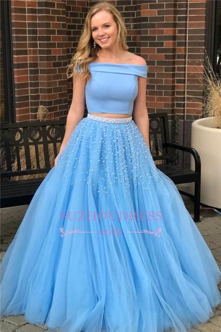 Elegant Two-Piece Blue Evening Dresses | Popular Off-The-Shoulder Beads Prom Dresses