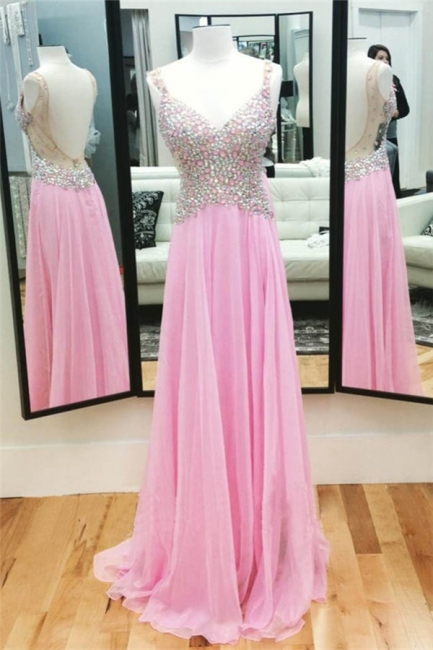 A-Line Pink Chiffon Crystal  Prom Dress Spaghetti Strap Backless Evening Gown