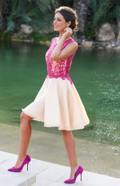 Fuchsia Lace Applique Mini  Homecoming Dresses Sleeveless A-Line Short Cocktail Dress