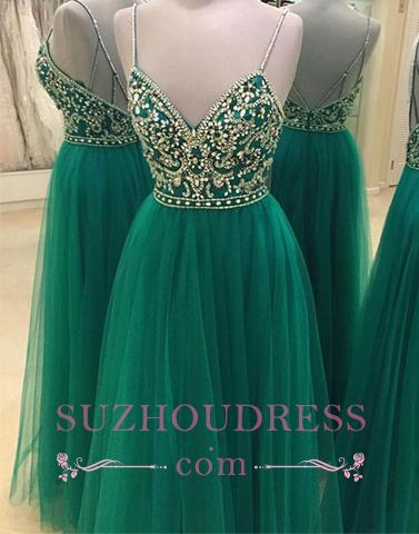 Spaghetti Green Straps Prom Dress  Backless Beading A-line New Arrival Evening Dress