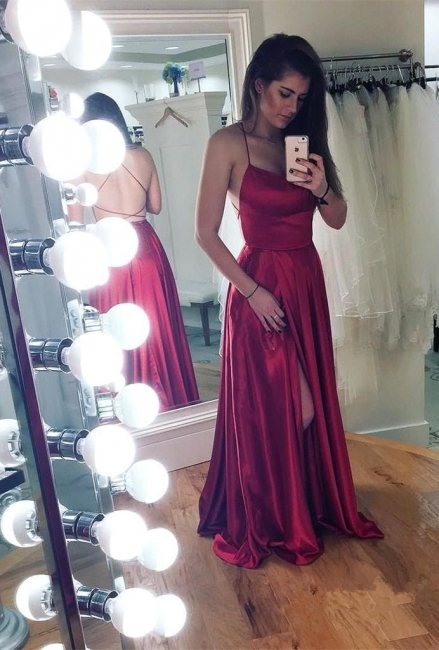 Simple A-Line Backless Prom Dresses  | Spaghetti Straps Side Slit Evening Gowns