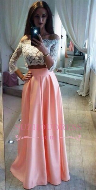 Elegant Lace Two Pieces Formal Dress  A-Line Off The Shoulder Pink Prom Dress