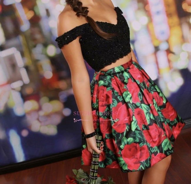 Off-the-Shoulder Black Two-Piece Lace-Beaded Floral Homecoming Dresses