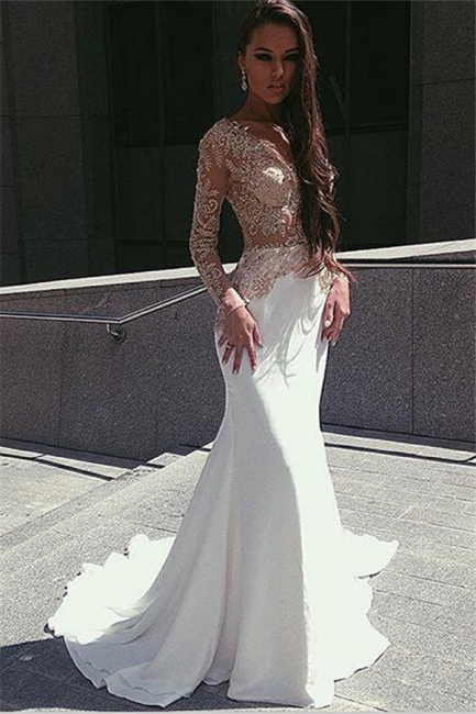 Champagne Gold Appliques Long Sleeves Prom Dress  Mermaid Sexy Evening Gown BA4708
