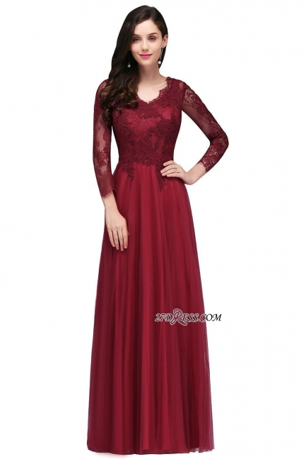 A-line Burgundy Floor-Length V-Neck Long-Sleeves Prom Dresses
