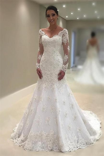 Elegant Tulle Long Sleeves Wedding Dresses  | V-Neck Mermaid Appliques Bridal Gown