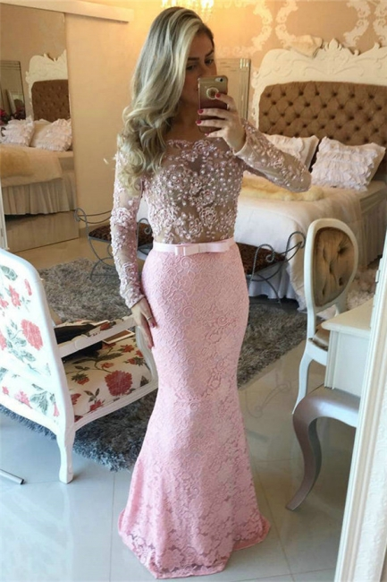 Pink Lace Prom Dresses Long Sleeve Open Back Pearls Evening Gowns BMT137